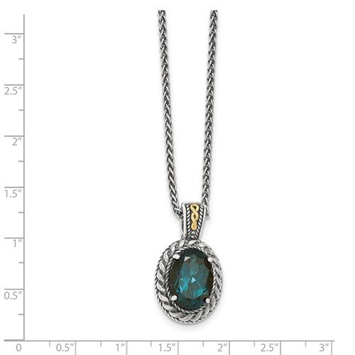 Brilliant Bijou Sterling Silver w//14k London Blue Topaz Hinged Bail Necklace 18 inches