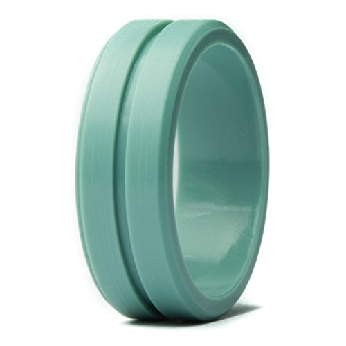 Unii Silicone Wedding Ring | Safety Rubber Wedding Band | Athletic Ring for Active Men | Thin Groove Ring 7mm Wide | Best Alternative for Work, Mechanics, Sports, Workout Ring | Turquoise - Size 10