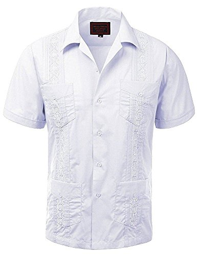 Maximos Men's Short Sleeve White Button-Up Cuban Guayabera Dress Shirt 4XL ()