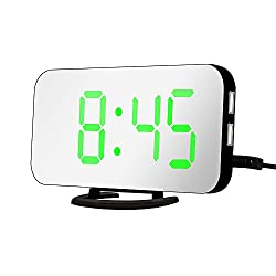 Raykool 6.5 Large Display LED Digital Alarm Clock with Automatic Brightness Adjustment, Easy to Read Green Light Number, Loud Alarm, Snooze, Mirror Surface, Dual USB Charger Ports