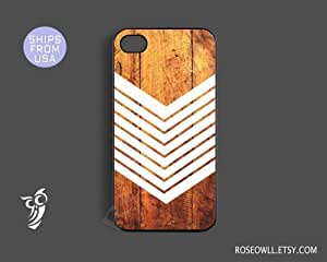 Iphone 4 case, iphone 4s case - Geometric Iphone Cases, White Arrow on Wood, ...