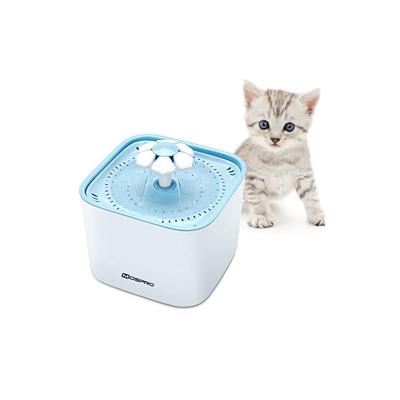 dog supplies online pet fountain cat water dispenser - healthy and hygienic drinking fountain super quiet flower automatic electric water bowl with 2 replacement filters for dogs, cats, birds and small animals blue