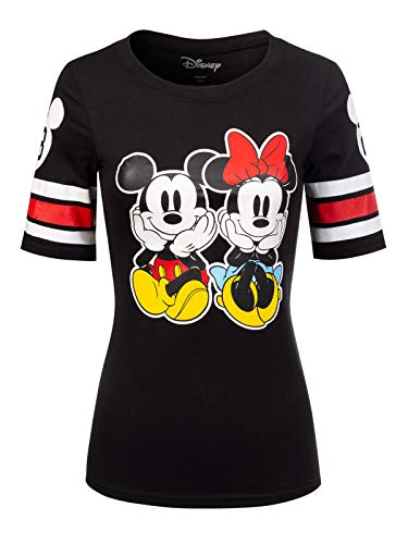 Instar Mode Women's Disney Mickey Mouse/Minnie Mouse/Donald Duck Short Sleeve Crew Neck Top DS400 Black S Disney Womens Minnie Mouse