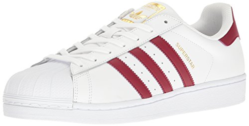 adidas Originals Men's Shoes | Superstar Foundation Fashion Sneakers, White/Burgundy/Gold Metallic, (12 M US)