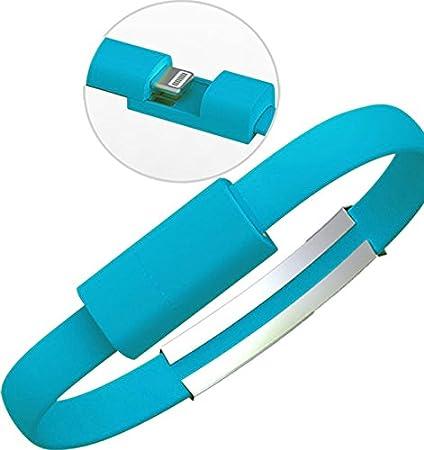 youbo 2 Unids Pulsera cargador USB Cable de datos de carga para el iPhone x 8 7 6 s más 5 5S (Azul)