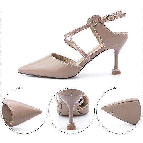 Beige Femmes Talons Shallow Court Pointu UK Couleur Sexy Stilettos 5 Bouche Dames Haut 38 5 7cm Nude Toe Talon Chaussures EU 886xqrFAw