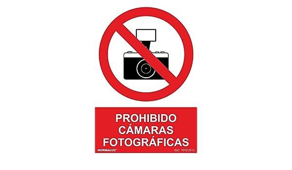 MovilCom® - Adhesivo PROHIBIDO CAMARAS FOTOGRAFICAS 200X300mm Señal prohibición (ref.RD40635): Amazon.es: Industria, empresas y ciencia