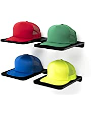 """Boxy Concepts Hat Organizer Shelves in Black - Pack of 4 - Premium Hat Rack for Wall - Store & Display Your Best Ball Caps - 11"""" x 8.5"""" ABS Plastic Wall Mountable Hat Holder with Strong Adhesive Tape"""
