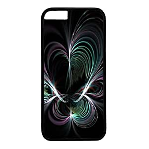 Digital Floral Style Back Case Cover for iPhone 6 Plus Black Plastic PC Skin Shell for iPhone 6 Plus with Abstract Flower