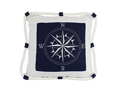 Hampton Nautical  Compass with Rope Decorative Thrown Beach Living Room, 16