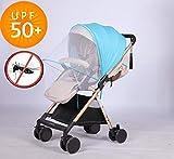 Sun Shade Car Seat Stroller Sunshade Bassinet Playpen Crib Stroller Net-Nice Visiblity and Air Permeability Design (Blue + Sunshade)