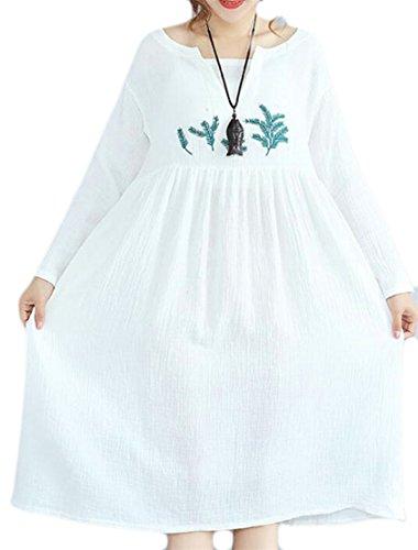 Jaycargogo Le Cou De L'équipage Féminin Floral Manches Longues Sur La Taille Des Robes De Lin En Coton Blanc