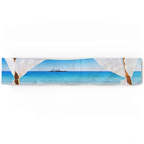 KAROLA Dining Table Runner Dresser Scarf,Tropical Summer Bali Resort Beach Scenery Modern Table Runner for Kitchen Wedding Party Office Decor,Rectangular 14 x 72 Inches
