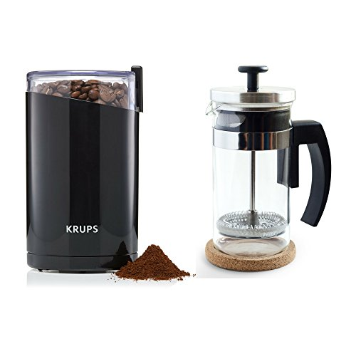 KRUPS F203 Electric Coffee Grinder and Brillante Small French Press 12 oz Coffee Maker (BR-CP1-350)