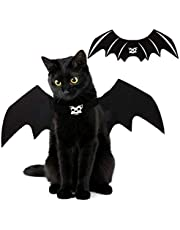 Halloween Cat Bat Wings Costume Pet Cosplay Vampire Dress Up Apparel Small Dog Christmas Clothes Bat Skeleton Bone Wing with Kitten Puppy Skull Back Tie Decoration & Traction Rope Fixing Holes