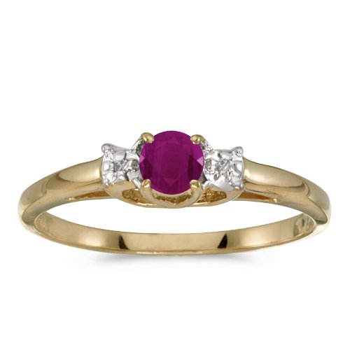 - Jewels By Lux 14k Yellow Gold Genuine Red Birthstone Solitaire Round Ruby And Diamond Wedding Engagement Ring - Size 9 (1/4 Cttw.)