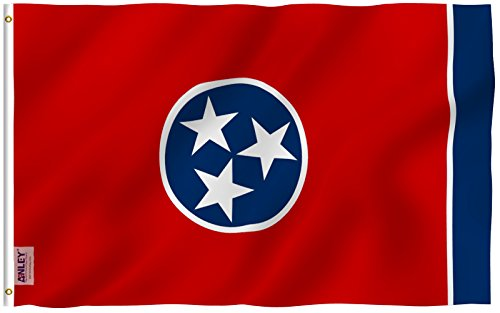 Anley Fly Breeze 3x5 Foot Tennessee State Polyester Flag - Vivid Color and UV Fade Resistant - Canvas Header and Double Stitched - Tennessee TN Flags with Brass Grommets 3 X 5 Ft