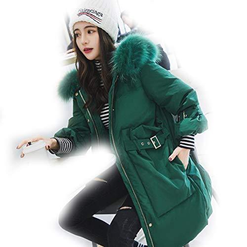fidpMo Winter Fur Duck Down Coat Loose Hooded Women Thickening Outerwear