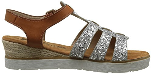XTI 046547, Sandalias con Plataforma Para Mujer Plateado (Plata)