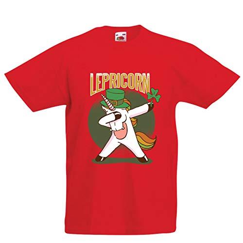 lepni.me Kids T-Shirt Dabbing Lepricorn, Irish Unicorn St Patricks Day Shirt (12-13 Years Red Multi Color) 12 Years Irish Wine