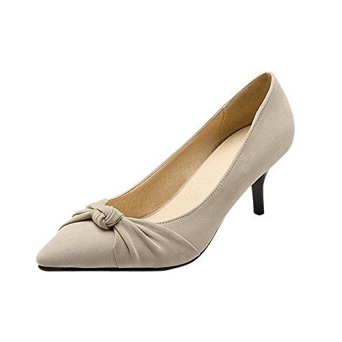 Carolbar Womens Puntige Teen Elegantie Manchet Charm Date Strikjes Mid Stiletto Hak Kleding Schoenen Beige Grijs