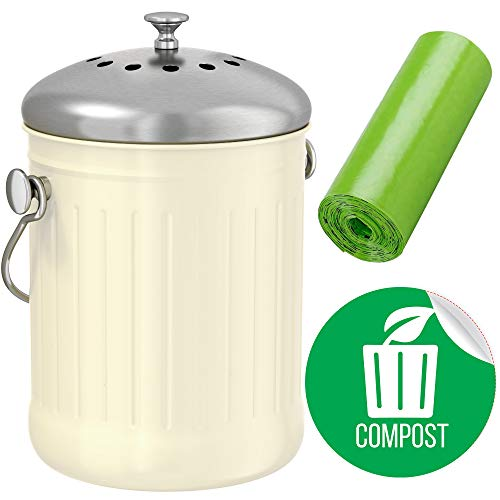Ecowise Naturals - iTouchless EcoWise Compost Bin Container, Dual Deodorizer Activated Carbon Filters, Includes Compost Sticker and 10 pc Biodegradeable Bags, 1.32 Gallon Kitchen Trash Can, Stainless Steel Lid