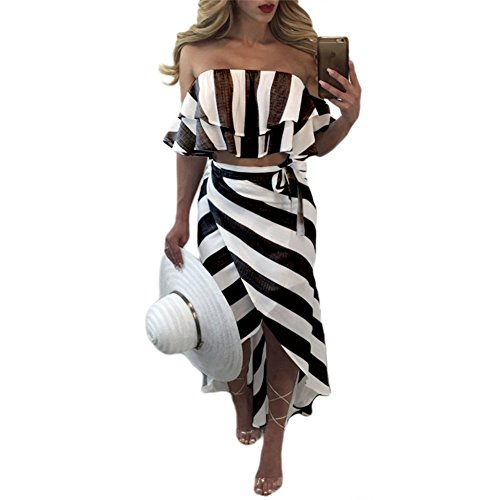 Womens Sexy 2 Pieces Outfits Wrapped Ruffled Backless Striped Crop Top High Split Skirt Set Bandage Party Club Dress Black - Ruffled Skirt Striped