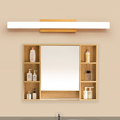 Solid Wood, Mirror Light, LED Wall Washer, Mirror Light Cabinet Light, Bathroom Simple Dresser Wall Light, Warm Light (Size : 60CM 10W) by Mingteng (Image #2)
