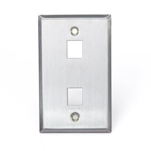 (Leviton 43080-1S2 QuickPort Wallplate, Single Gang, 2-Port, Stainless Steel)