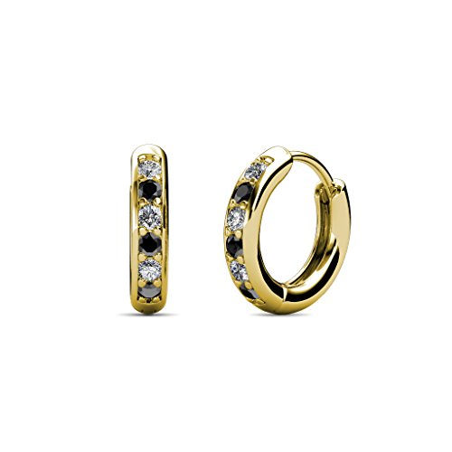 Petite Black and White Diamond (SI2-I1, G-H) Huggies Hoop Earrings 0.25 Carat tw in 14K Yellow (0.25 Ct Tw Hoop)