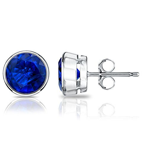 Diamond Wish 14k White Gold Round Blue Sapphire Gemstone Stud Earrings (1 carat TW) Bezel Set, Push-Back