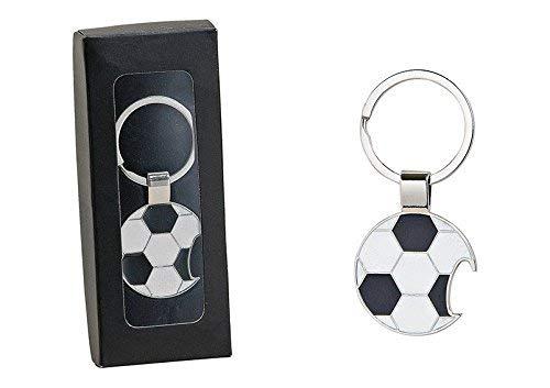 con apribottiglie Portachiavi a Forma di Pallone da Calcio Funnythings Colore: Nero//Bianco//Argento in Metallo