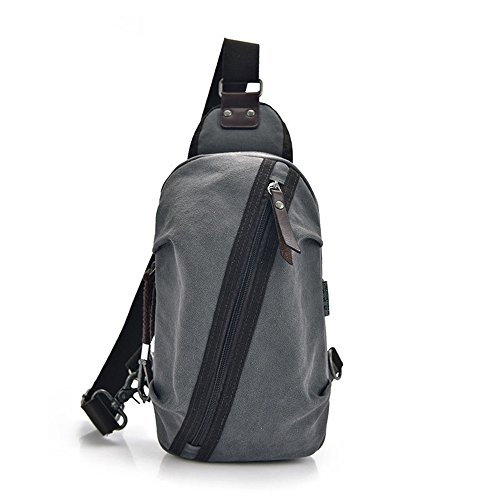 grey Waterproof Bag Zipper Canvas Chest Messenger Shopping Simple Shoulder Color Retro Comfortable Bag Outdoor Bag FfqwFOZB