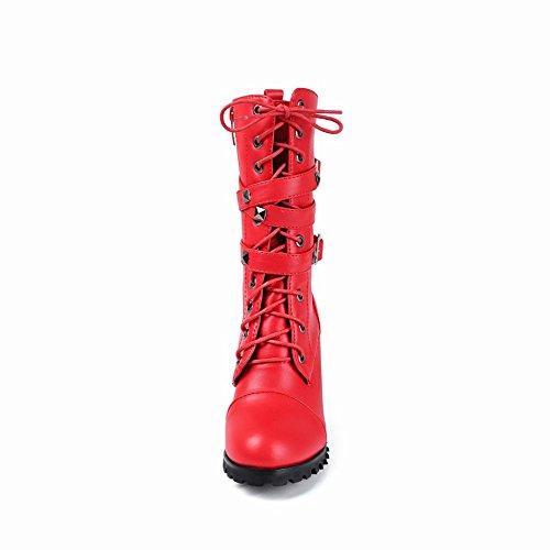 Biker Buckles Women's Boots Red Rivets Modern Carolbar w87qPIFP