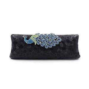 Perfect Home Women's Color Sequins Diamond Peacock Dinner Clutch Bag Banquet Bag Evening Bag Shoulder Messenger Bag Size: 24 * 8cm (Color : Black)