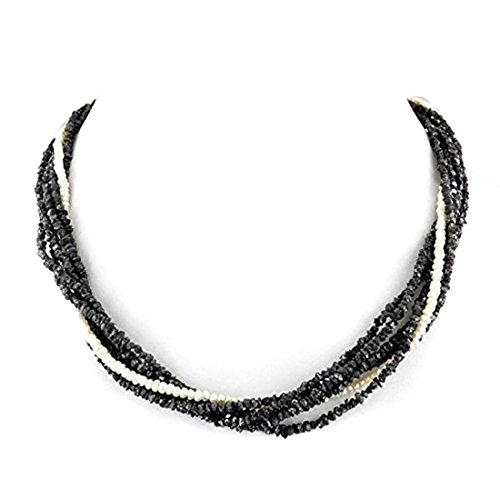 Barishh 18 inches Black Diamond Necklace-3 mm-150 Carats.Certified.AAA.Gold Clasp.Excellent Shine by Barishh