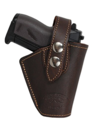 Barsony Brown Leather OWB Belt Clip Holster for Raven 22 25 380 Right