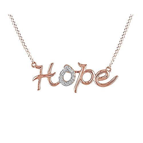 - Jewel Zone US Natural Diamond Hope Pendant Necklace in 14K Rose Gold Over Sterling Silver