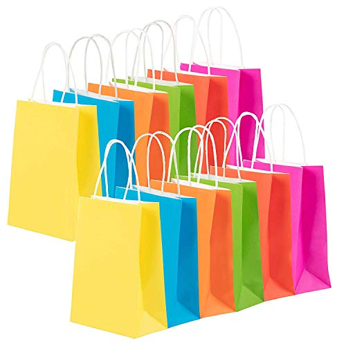 Juvale 48-Pack Bulk Small Neon Colored Paper Gift Bags with Handles for Retail, Shopping, Party Favors, Fuchsia Pink, Red, Blue, Green, Orange, Yellow, 6.3 x 3.1 x 8.6 Inches]()