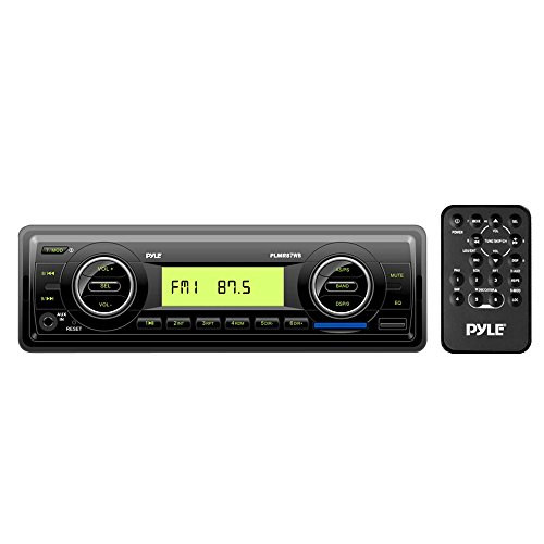 Pyle Marine Stereo Headunit Receiver - 12v Single DIN Style Digital Boat In dash Radio System w/ MP3 USB SD, AUX, RCA, AM FM Radio Weatherband - Remote Control, Power -
