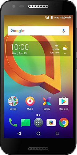 Alcatel A30 GSM Unlocked Smartphone (AT&T/T-Mobile) - 5'' HD Display, 16 GB, 5MP Selfie Camera, and Android 7.0 Nougat [Black] by Alcatel
