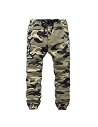YoungSoul Boys Pull On Drawstring Jogger Pants Camo Print Cuff Jogging Bottoms