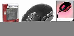 Move & Moving (TM) negro 3d usb LED rojo Ratón rueda de desplazamiento óptico para PC portátil
