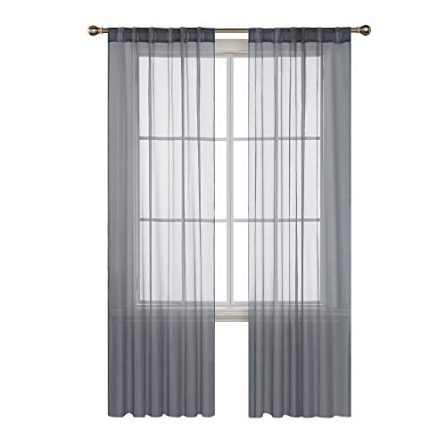 (Deconovo Grey Sheer Curtains Voile Sheer Curtains Sheer Curtain Panels Back Tab and Rod Pocket Curtains Gauze Curtains for Living Room 52 W x 84 L Inch 2 Panels)
