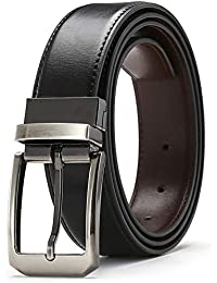 FURIENIDE Belts for Men reversible Black and Brown Leather Belts big and tall Buckles Dress Belts with Single Prong Rotated Buckle