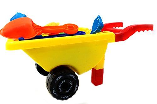 PowerTRC Wheelbarrow Wagon Beach Toy 5 Sand Molds, Shovel, Rake Watering Can ()