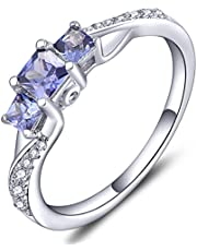 YL Women's Sterling Silver Clear Birthstones 3-stone Princess Cut Wedding Rings for Engagement Jewelry