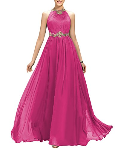 2018 A Line Long Retro Sash Belt Evening Dress for Women Ruffle Formal Prom Party Robes Cocktail Empire Waist Female Gowns EV147 Hot Pink Size 18W ()