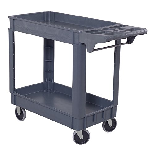 550 Lb Storage (2 Shelves Plastic Utility Service Cart Heavy Duty 550 LBS Capacity Storage Rolling Cart Food Serving Cart Tools Organizer Garage Mechanics Craftsman Toolbox Ergonomic Handle Easy To Move Around)