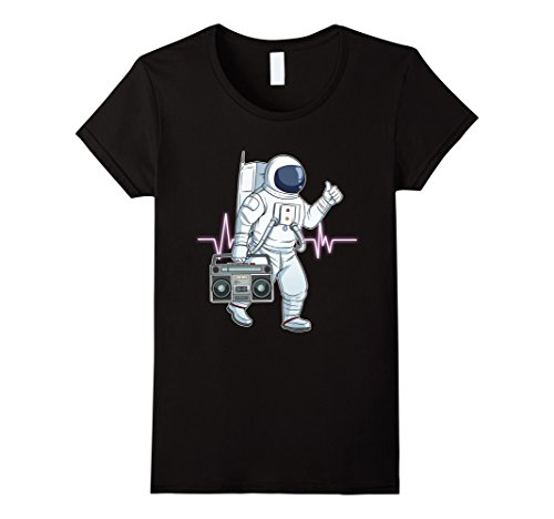 Womens Retro Astronaut T-Shirt Space Boombox Graphic Shirt Hip Hop XL Black